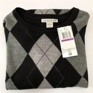 Geoffrey Beene Argyle Sweater Pullover Mens XXL